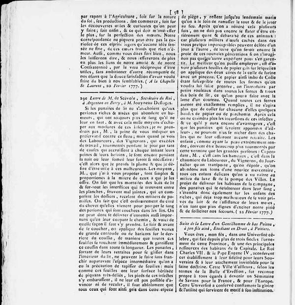 Lettre de 1777 dans les archives de la Vienne